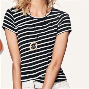 CAbi 5059 Gracie Crop Striped Tee Black & White S